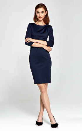 Dress with asymmetrical draperies - navy blue