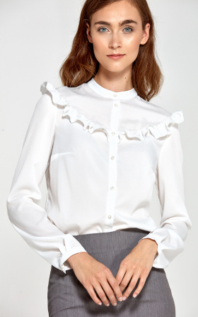 Blouse with frills - ecru