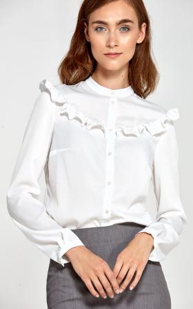 Ecru bluzka z falbankami