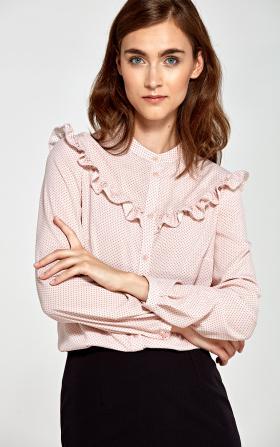 Bluzka z falbankami- róż/kropki
