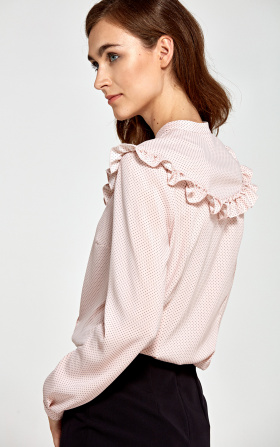 Różowa bluzka z falbankami w kropki