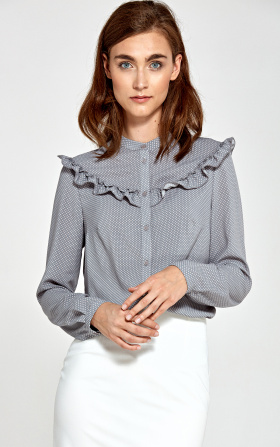 Blouse with frills - gray/dots