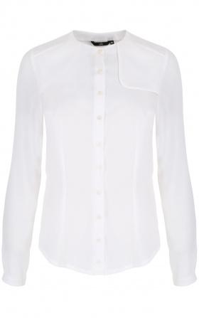 Ecru bluzka z ozdobną klapą po lewej stronie