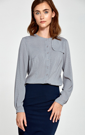 Blouse with decorative flap on the left - gray/dots