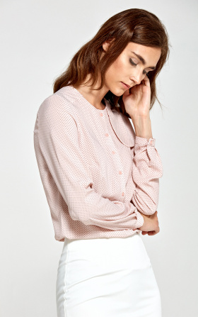 Blouse with decorative flap on the left - pink/dots