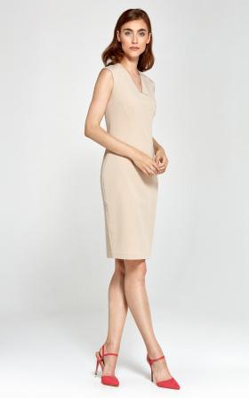 Dopasowana sukienka z dekoltem V - beż