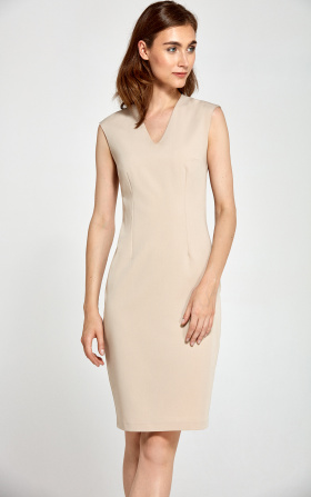 Fitted dress with V neckline - beige