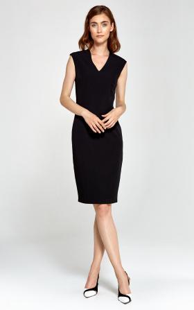 Dopasowana sukienka z dekoltem V - czarny
