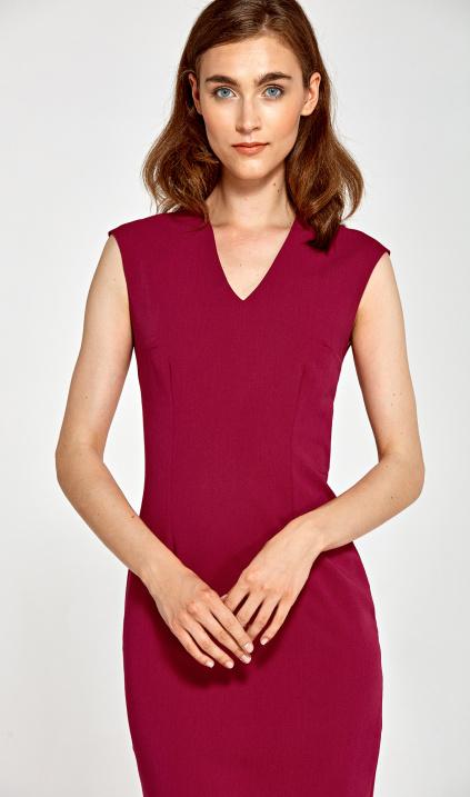8660e14f04 Dopasowana sukienka z dekoltem V - bordo - Sklep www.nife.pl - soft office