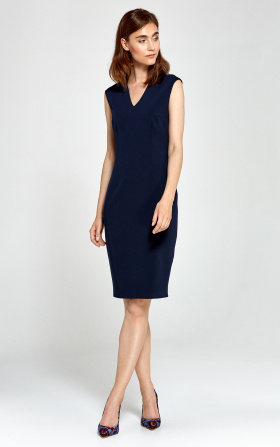 Dopasowana sukienka z dekoltem V - granat