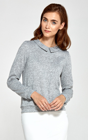 Sweater with collar - gray