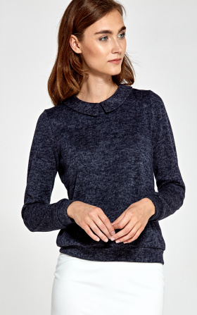Sweater with collar - navy blue
