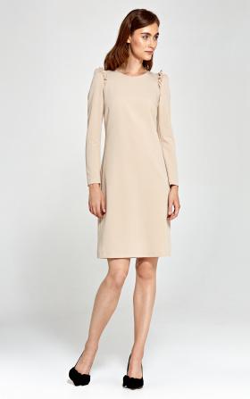 Sukienka z falbankami na ramionach - beż