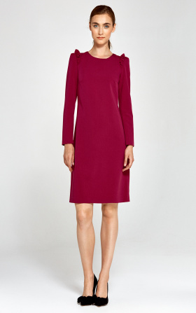 Dress with ruffles on the shoulders - claret