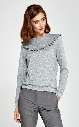 Sweter z falbankami - szary