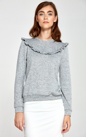 Sweater with frills - grey