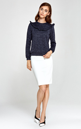 Sweater with frills - navy blue
