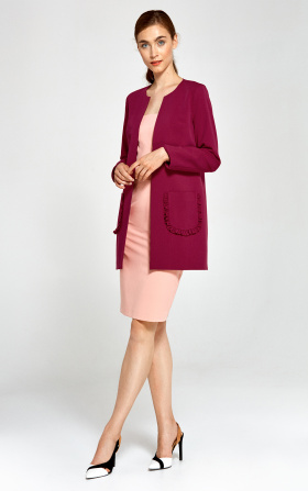 Long jacket with decorative pockets - claret