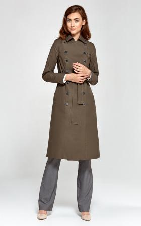 Elegancki trencz damski w kolorze khaki