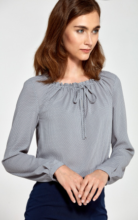 Blouse with a ruffled neckline - gray/dots