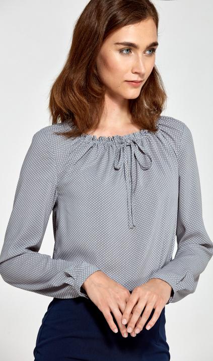 Nife Bluzka z marszczonym dekoltem szarykropki, bluzka