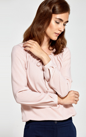 Blouse with a ruffled neckline - pink/dots
