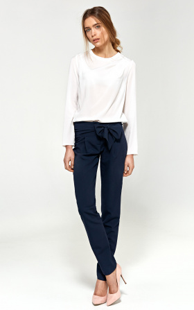 Trousers with belts on hips - navy blue