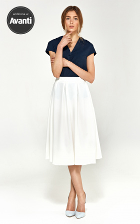 Midi skirt with pleats - ecru