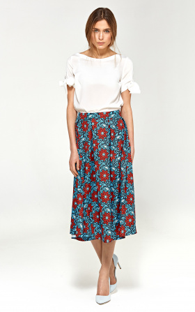 Midi skirt with pleats - flowers