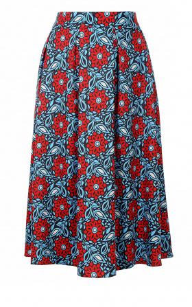 Spódnica midi z zakładkami - kwiaty