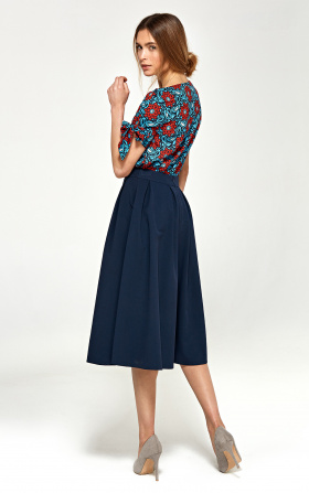 Midi skirt with pleats - navy blue