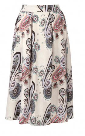 Spódnica midi z zakładkami - wzór