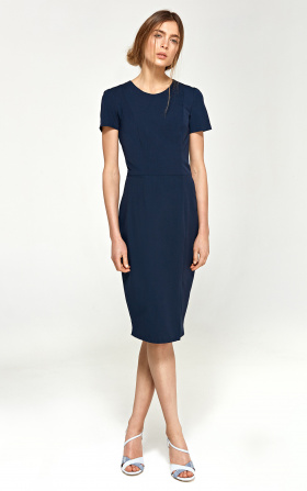 Fitted dress with short sleeves - navy blue