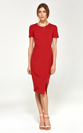 Fitted dress with short sleeves - red