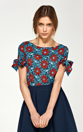 Blouse with a binding on the sleeves - flowers