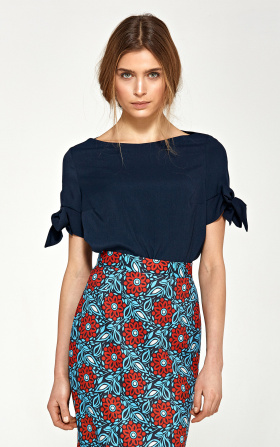 Blouse with a binding on the sleeves - navy blue