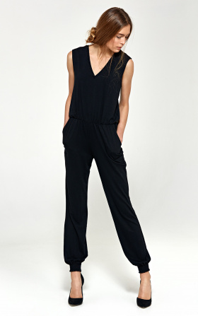 Jumpsuit with V-neckline - black