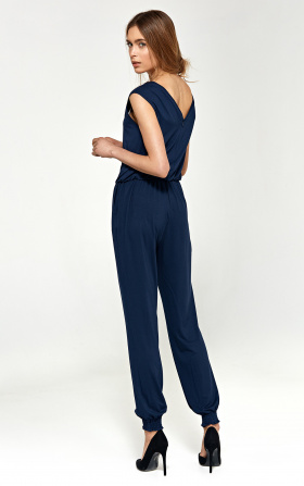 Jumpsuit with V -neckline - navy blue