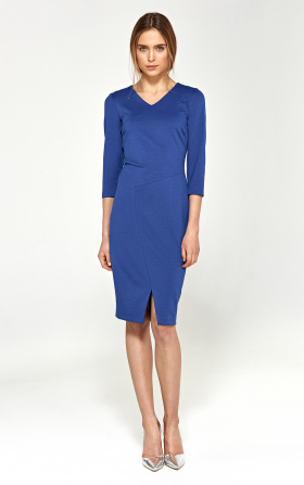 Knitted dress with stitching on the neckline - blue