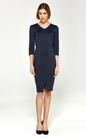 Knitted dress with stitching on the neckline - navy blue