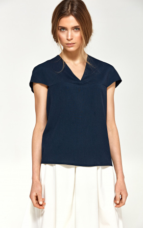 Blouse with a delicate V neckline - navy blue