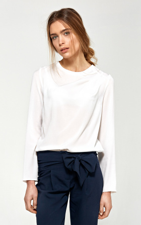 Blouse with asymmetrical draperies - ecru