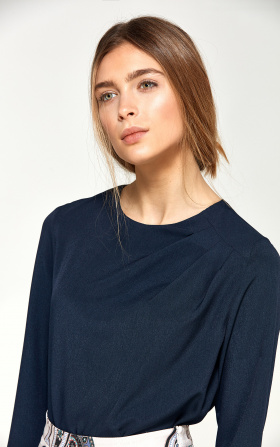 Blouse with asymmetrical draperies - navy blue