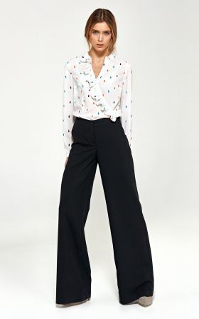 Trousers in palazzo style - black