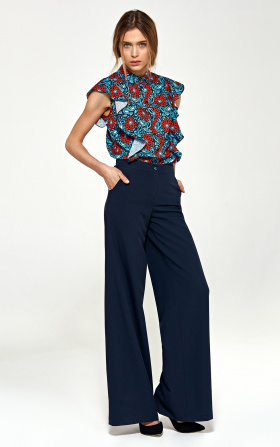 Trousers in palazzo style - navy blue