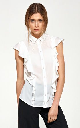 Blouse with short sleeves and flounces - ecru