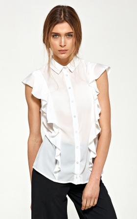 Bluzka z krótkim rękawem i falbanami w kolorze ecru