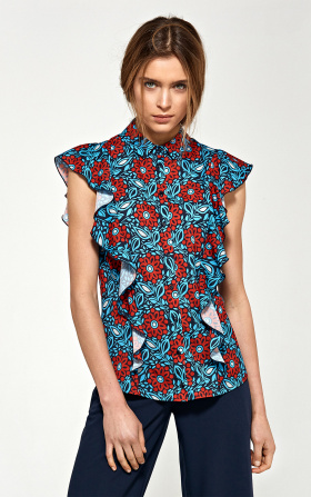 Blouse with short sleeves and flounces - flowers