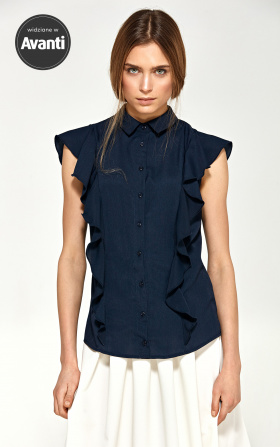 Blouse with short sleeves and flounces - navy blue