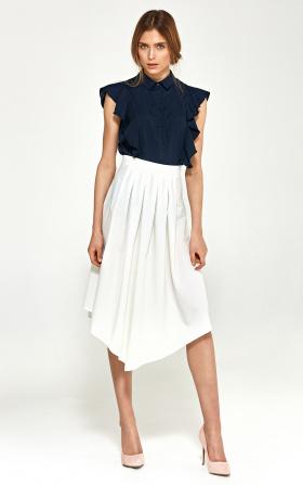Asymetryczna spódnica z zakładkami- ecru
